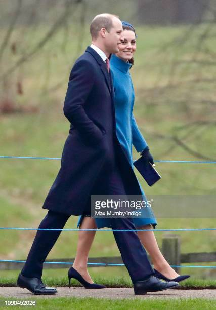 Prince William, Duke of Cambridge and Catherine, Duchess of Cambridge attend Sunday service at the Church of St Mary Magdalene on the Sandringham...