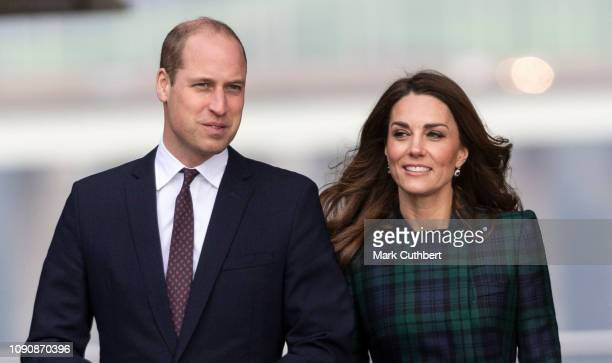 Prince William Duke of Cambridge and Catherine Duchess of Cambridge officially open the VA Dundee and greet members of the public on the waterfront...