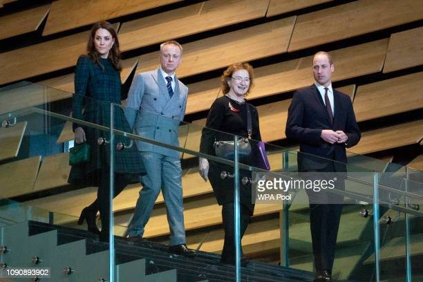 Prince William Duke of Cambridge and Catherine Duchess of Cambridge who are known as the Duke and Duchess of Strathearn in Scotland with museum...