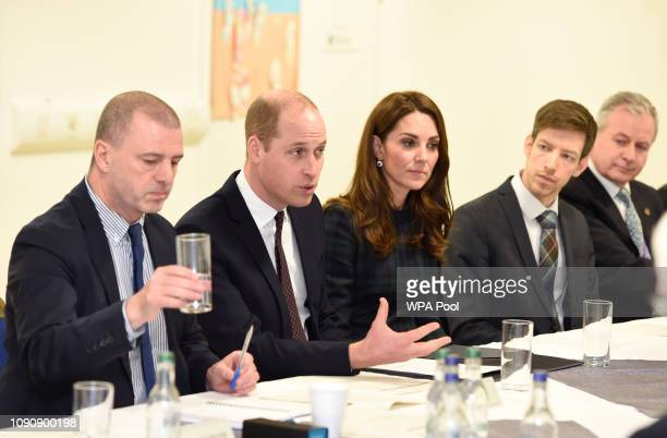 Prince William Duke of Cambridge and Catherine Duchess of Cambridge who are known as the Duke and Duchess of Strathearn in Scotland attend a meeting...