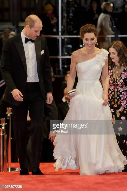Prince William Duke of Cambridge and Catherine Duchess of Cambridge arrive to attend the EE British Academy Film Awards at Royal Albert Hall on...