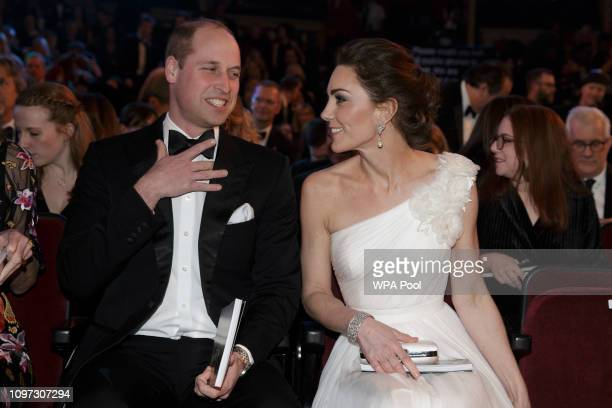 Prince William, Duke of Cambridge and Catherine, Duchess of Cambridge attend the EE British Academy Film Awards at Royal Albert Hall on February 10,...