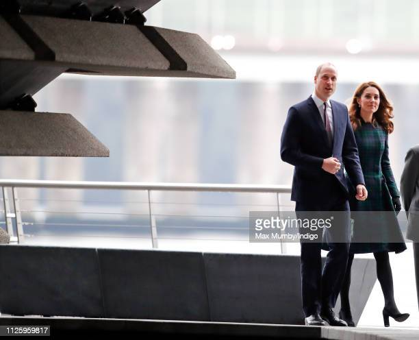 Prince William Duke of Cambridge and Catherine Duchess of Cambridge who are known as the Duke and Duchess of Strathearn in Scotland arrive to...
