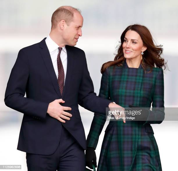 Prince William, Duke of Cambridge and Catherine, Duchess of Cambridge, who are known as the Duke and Duchess of Strathearn in Scotland, arrive to...