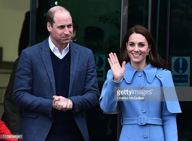 Prince William, Duke of Cambridge and Catherine, Duchess of Cambridge engage in a walkabout in Ballymena town centre on February 28, 2019 in...