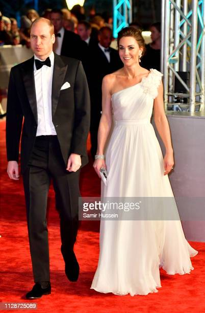 Prince William Duke of Cambridge and Catherine Duchess of Cambridge arrive at the EE British Academy Film Awards at the Royal Albert Hall on February...