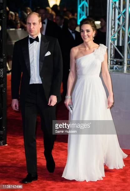 Prince William, Duke of Cambridge and Catherine, Duchess of Cambridge attends the EE British Academy Film Awards at Royal Albert Hall on February 10,...