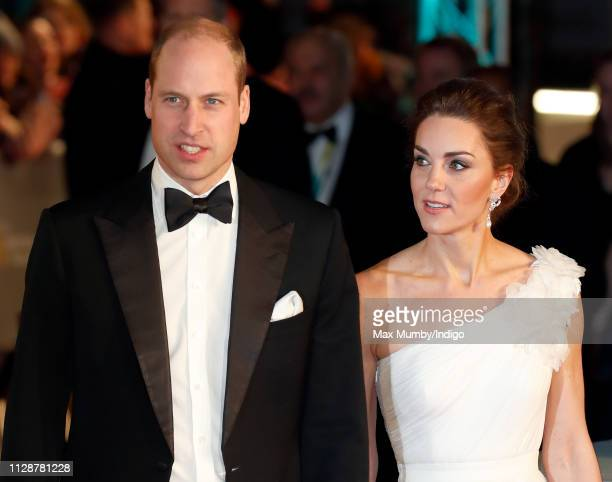 Prince William Duke of Cambridge and Catherine Duchess of Cambridge attend the EE British Academy Film Awards at the Royal Albert Hall on February 10...