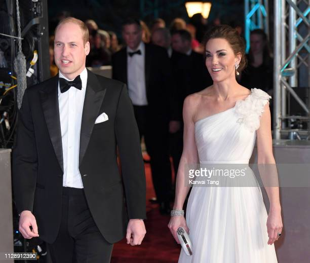 Prince William Duke of Cambridge and Catherine Duchess of Cambridge attends the EE British Academy Film Awards at Royal Albert Hall on February 10...