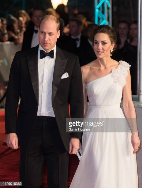 Prince William Duke of Cambridge and Catherine Duchess of Cambridge attend the EE British Academy Film Awards at Royal Albert Hall on February 10...