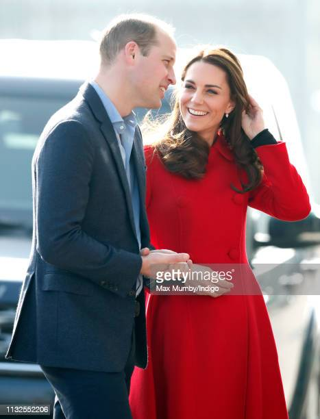 Prince William Duke of Cambridge and Catherine Duchess of Cambridge arrive for a visit to Windsor Park Stadium home of the Irish Football Association...