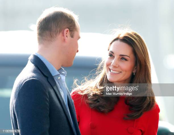 Prince William, Duke of Cambridge and Catherine, Duchess of Cambridge arrive for a visit to Windsor Park Stadium, home of the Irish Football...