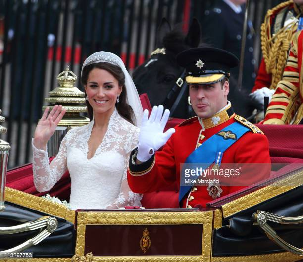 Prince William, Duke of Cambridge and Catherine, Duchess of Cambridge depart Westminster Abbey after there marriage on April 29, 2011 in London,...
