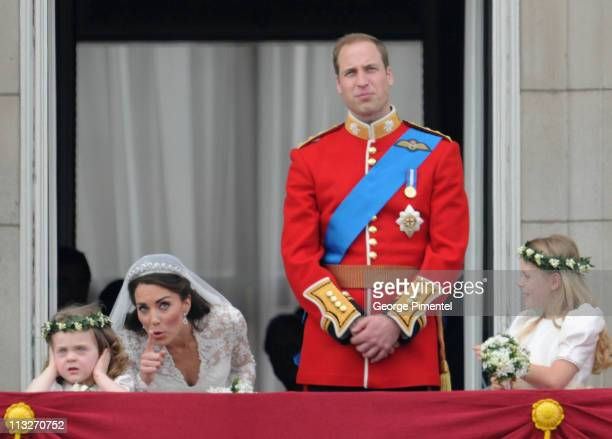Prince William Duke of Cambridge and Catherine Duchess of Cambridge greet wellwishers from the balcony next to Grace Van Cutsem and Margarita...