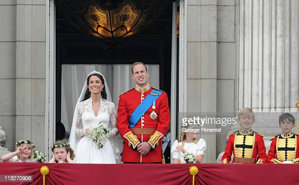 Prince William Duke of Cambridge and Catherine Duchess of Cambridge greet wellwishers from the balcony next to Lady Louise Windsor Grace Van Cutsem...