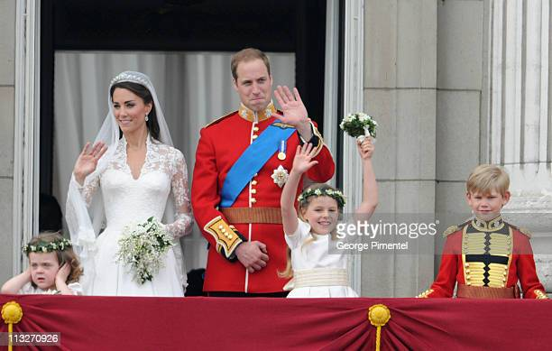 Prince William Duke of Cambridge and Catherine Duchess of Cambridge greet wellwishers from the balcony next to Grace Van Cutsem Margarita...