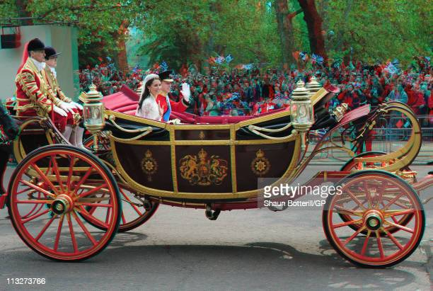 TRH Prince William Duke of Cambridge and Catherine Duchess of Cambridge make the journey by carriage procession to Buckingham Palace following their...