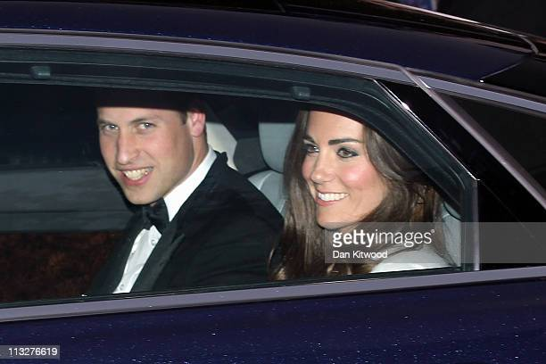 Prince William Duke of Cambridge and Catherine Duchess of Cambridge leave Clarence House for Buckingham Palace on April 29 2011 in London England The...