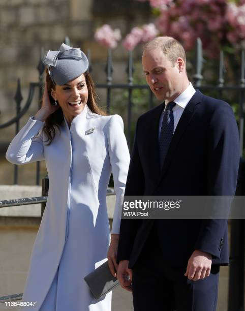 Prince William Duke of Cambridge and Catherine Duchess of Cambridge attend Easter Sunday service at St George's Chapel on April 21 2019 in Windsor...