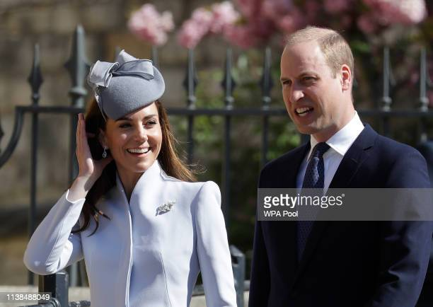 Prince William, Duke of Cambridge and Catherine, Duchess of Cambridge attend Easter Sunday service at St George's Chapel on April 21, 2019 in...