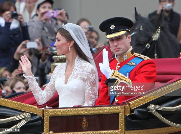 Prince William Duke of Cambridge and Catherine Duchess of Cambridge leave Westminster Abbey after their wedding on April 29 2011 in London United...