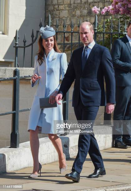 Prince William Duke of Cambridge and Catherine Duchess of Cambridge attend the Easter Sunday service at St George's Chapel on April 21 2019 in...