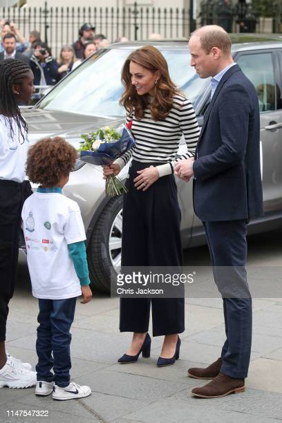 Prince William Duke of Cambridge and Catherine Duchess of Cambridge launch the Kings Cup Regatta at Cutty Sark Greenwich London on May 07 2019 in...