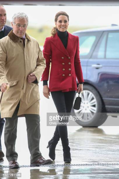 Prince William, Duke of Cambridge and Catherine, Duchess of Cambridge visit Caernarfon Coastguard Search and Rescue Helicopter Base during a visit to...