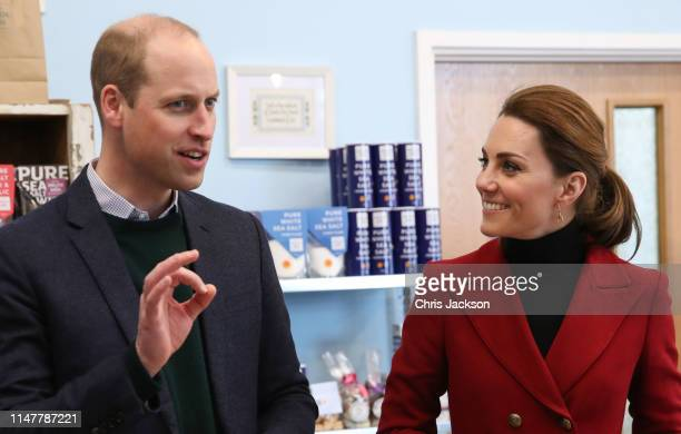 Prince William Duke of Cambridge and Catherine Duchess of Cambridge visiting Halen Môn Anglesey Sea Salt Here the Duke and Duchess are be being shown...
