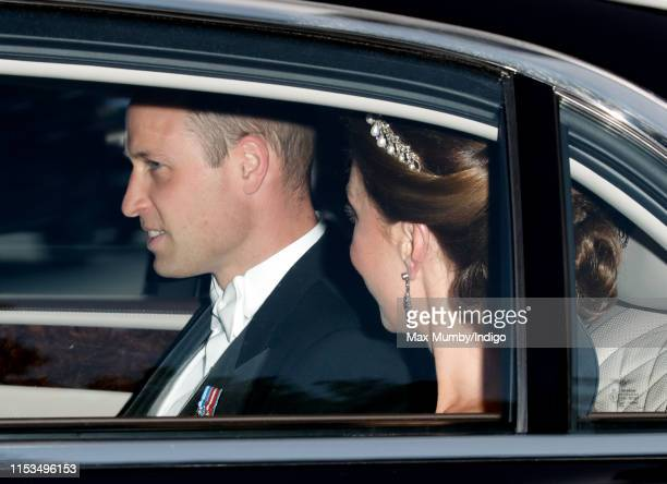 Prince William, Duke of Cambridge and Catherine, Duchess of Cambridge depart Kensington Palace to attend a State Banquet at Buckingham Palace on day...