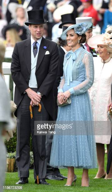 Prince William, Duke of Cambridge and Catherine, Duchess of Cambridge attend day one of Royal Ascot at Ascot Racecourse on June 18, 2019 in Ascot,...