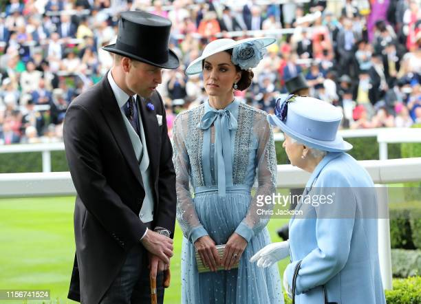 Prince William Duke of Cambridge and Catherine Duchess of Cambridge speak to Queen Elizabeth II on day one of Royal Ascot at Ascot Racecourse on June...