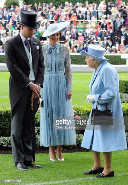 Prince William, Duke of Cambridge and Catherine, Duchess of Cambridge speak to Queen Elizabeth II on day one of Royal Ascot at Ascot Racecourse on...