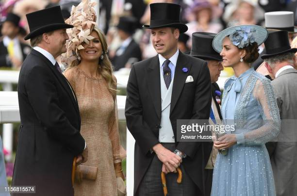Prince William, Duke of Cambridge and Catherine, Duchess of Cambridge chat to King Willem-Alexander of the Netherlands and Queen Maxima of the...