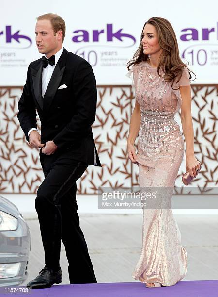 Prince William, Duke of Cambridge and Catherine, Duchess of Cambridge attend the ARK 10th Anniversary Gala Dinner at perk's Field on June 9, 2011 in...