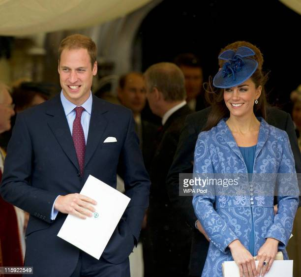 Prince William Duke of Cambridge and Catherine Duchess of Cambridge leave with other members of the royal family after a church service to mark...