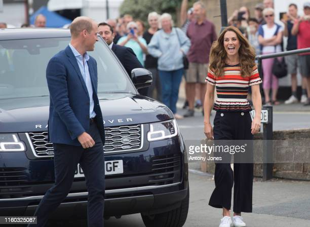 Prince William Duke of Cambridge and Catherine Duchess of Cambridge arrive at The Royal Yacht Squadron during the inaugural Kings Cup regatta hosted...
