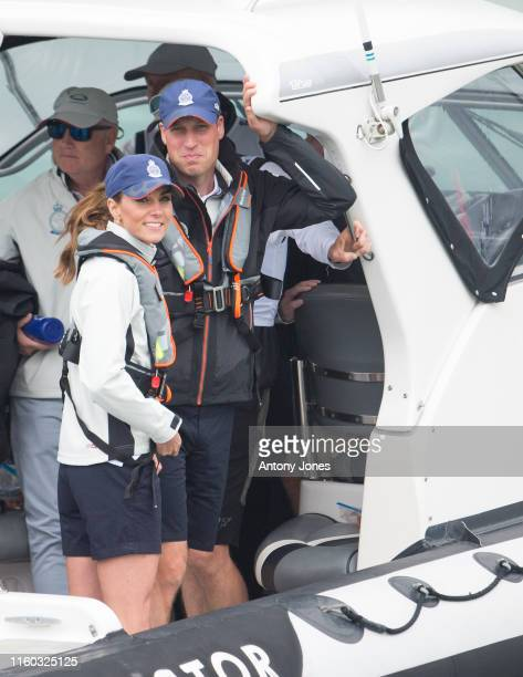 Prince William Duke of Cambridge and Catherine Duchess of Cambridge leave the The Royal Yacht Squadron to go sailing during the inaugural Kings Cup...