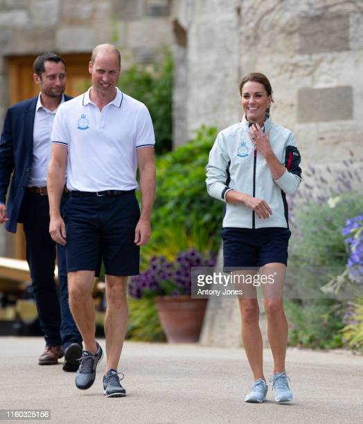 Prince William Duke of Cambridge and Catherine Duchess of Cambridge leave the The Royal Yacht Squadron to head to the presentation during the...