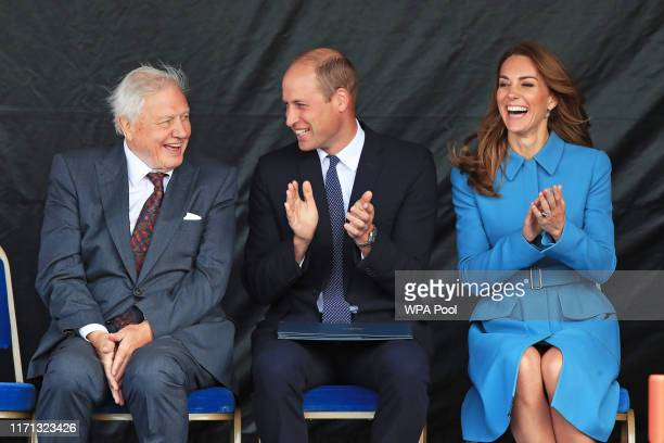 Prince William, Duke of Cambridge and Catherine, Duchess of Cambridge and Sir David Attenborough attend the naming ceremony of the polar research...