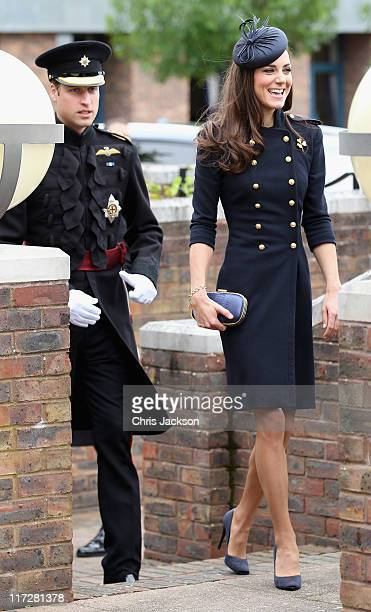 Prince William Duke of Cambridge and Catherine Duchess of Cambridge arrive at the Victoria Barracks on June 25 2011 in Windsor England The Duchess of...