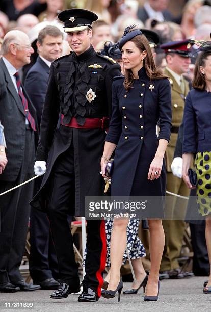 Prince William Duke of Cambridge and Catherine Duchess of Cambridge attend the Irish Guards Afghanistan Operational Medals Parade at Victoria...