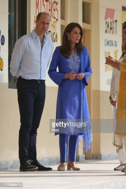 Prince William, Duke of Cambridge and Catherine, Duchess of Cambridge visit a school on October 15, 2019 in Islamabad, Pakistan.