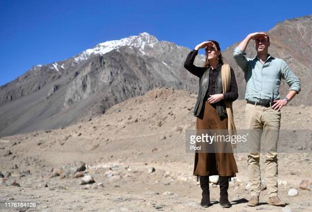 Prince William Duke of Cambridge and Catherine Duchess of Cambridge during visit the Chiatibo glacier in the Hindu Kush mountain range on October 16...