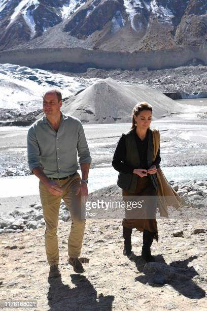 Prince William Duke of Cambridge and Catherine Duchess of Cambridge visit the Chiatibo glacier in the Hindu Kush mountain range on October 16 2019 in...