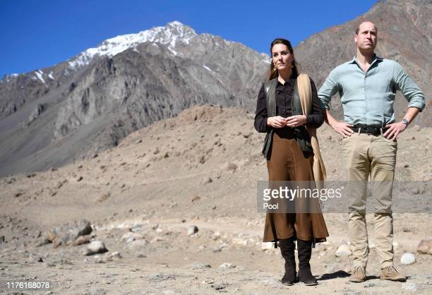 Prince William, Duke of Cambridge and Catherine, Duchess of Cambridge visit the Chiatibo glacier in the Hindu Kush mountain range on October 16, 2019...