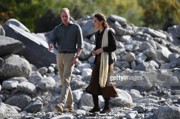 Prince William Duke of Cambridge and Catherine Duchess of Cambridge visit flood ruins in the village of Bumburet on October 16 2019 in the Chitral...