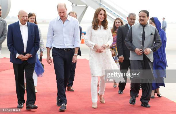 Prince William Duke of Cambridge and Catherine Duchess of Cambridge arrive in Lahore during their royal tour of Pakistan on October 17 2019 in Lahore...