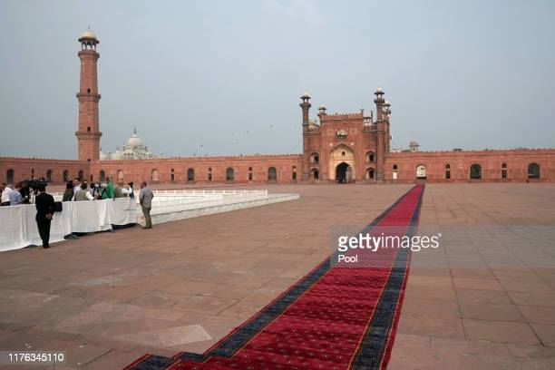 Prince William Duke of Cambridge and Catherine Duchess of Cambridge visit Badshahi Mosque during their royal tour of Pakistan on October 17 2019 in...