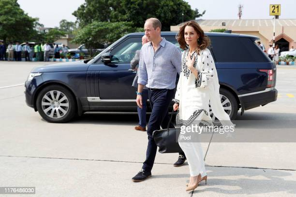 Prince William, Duke of Cambridge and Catherine, Duchess of Cambridge depart Lahore during their royal tour of Pakistan on October 18, 2019 in...